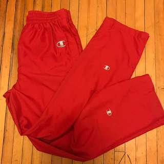 vintage champion red tearaway track pants