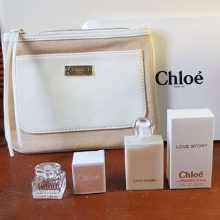 Chloe Parfum bag, Eau De Toilette 5ml, Love Story Body Lotion 30ml