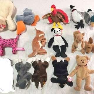 14 pcs. animal beanies stuff toys