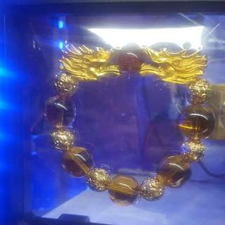 Gold plated Dragon head with citrine Beads bracelet