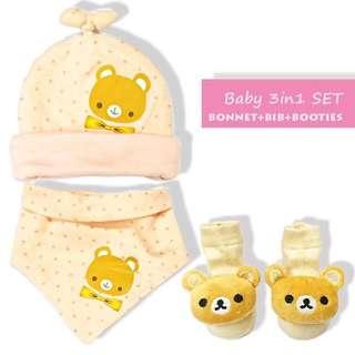 Baby Bonnet,Booties& Bib Set