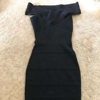 Guess by Marciano black off the shoulder bodycon dress
