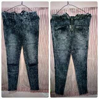 HW cut knee jeans
