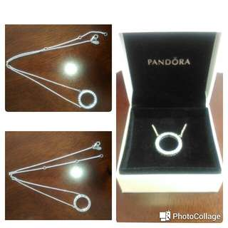 Pre-loved Pandora Necklace with Reversible Pendant Design (Pandora Logo/Clear Cubic Zirconia)