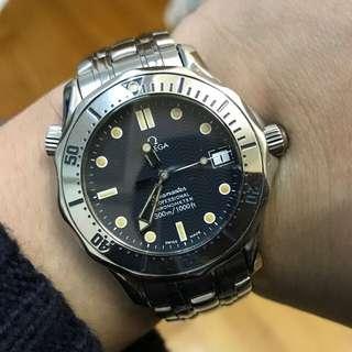 88%NEW OMEGA SEAMASTER 全自動 快跳日曆 水晶玻璃 36mm錶面 可轉動外圈 已變靚黃字 淨錶