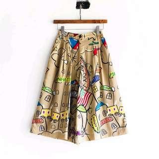 日本古董絲質可愛插圖寬褲 vintage used 古著
