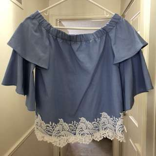 Zara off the shoulder blue top with lace detail