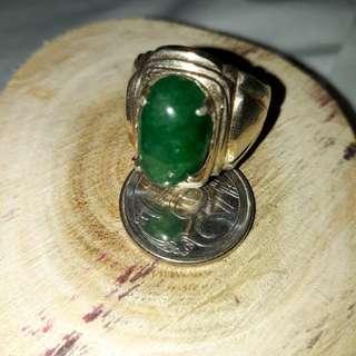 Silver ring ( custom design ) & permata batu zamrud .