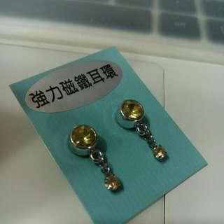 🚚 強力磁鐵耳環(黃綠色)