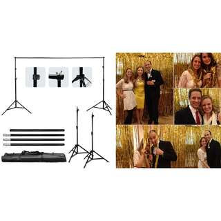 Backdrop Stand + Gold Foil Curtains