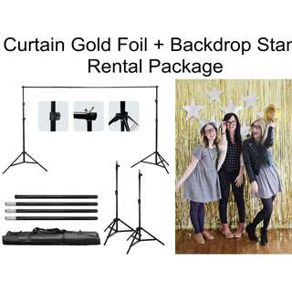 2meter by 2meter Backdrop Stand + Gold Foil Curtains