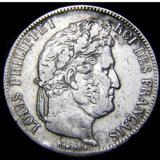 1839年法蘭西帝國(French Empire)法皇路易菲臘普一世肖像5法郎(Silver Francs)大銀幣