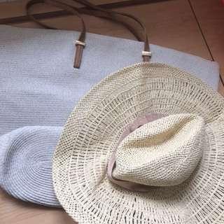 H&M沙灘包+闊邊帽