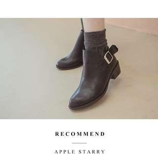 🚚 蘋果星莎 黑色短靴