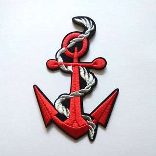 Red Anchor Nautical Ship Iron On Patch
