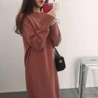 🚚 乾燥玫瑰 粉膚色連身洋裝 針織
