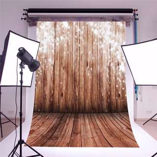 Wooden Sparkles - Vinyl Custom Photography Backdrop Prop Photo Studio Background