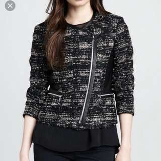 Rebecca Taylor Tweed Jacket With Leather Panel