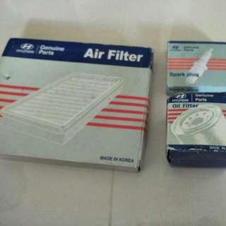 Hyundai Spark Plug, Oil Filter, Air filter