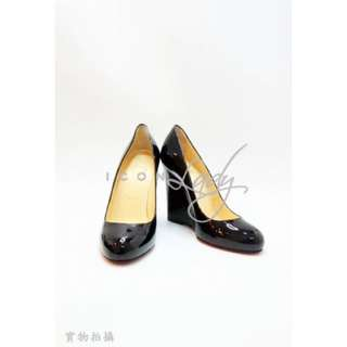 CHRISTIAN LOUBOUTIN 黑色漆皮 紅底 高跟鞋