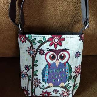 New- Embroidered Owl Design Sling Bag