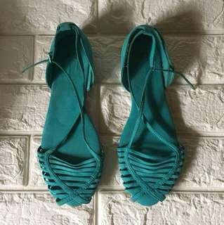Zara teal suede sandals