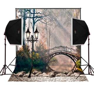 Arch bridge foggy forest scenic for wedding photos photographically digital cloth vinyl