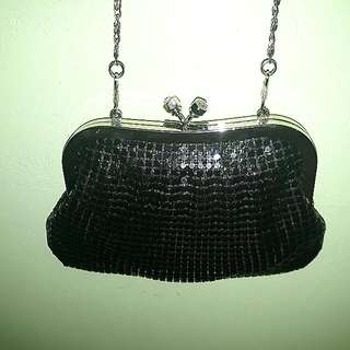 Sequined Black Sling Bag