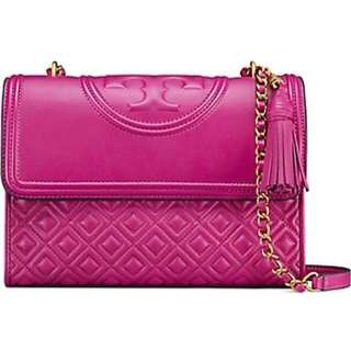 Tory Burch Fleming small convertible shoulder bag(紫紅色) 全新附塵袋