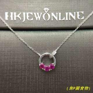 HKJ~18K白金紅寶頸鍊 (16+1吋)