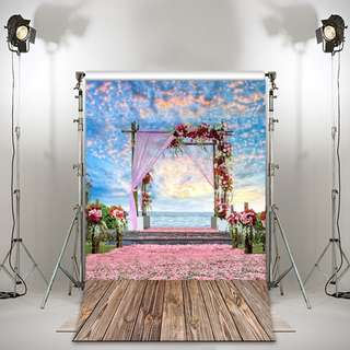 Vinyl floral wedding beach backdrop