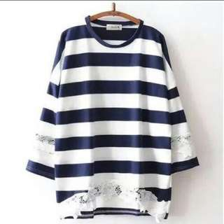 Embroidered Lace Stripe Loose Top