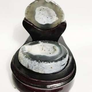 Agate Geode Blue 遇水则发玛瑙发财井
