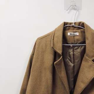 🖤焦糖色 卡其色 韓版 鋪棉 長版 大衣 西裝領 #大掃除五折