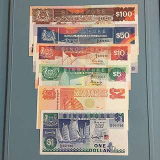 Singapore ship series notes set  denomination from $1 to $100 (GEF)