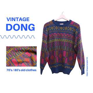 | 咚 咚 Vintage |日本古著- 電子籃線路毛衣