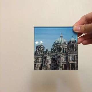 🚚 🖤德國🇩🇪市集 柏林大教堂歌德風 玻璃 高質感 軟木墊 杯墊 #大掃除五折