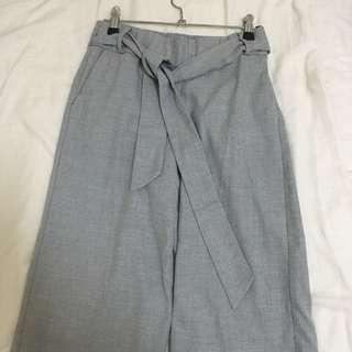 ZARA 灰色綁帶寬褲