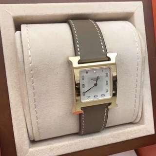 Hermes Heure H MM size 26mm 大象灰金釦帶鑽 手錶