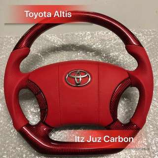 Toyota Altis Red Carbon steering
