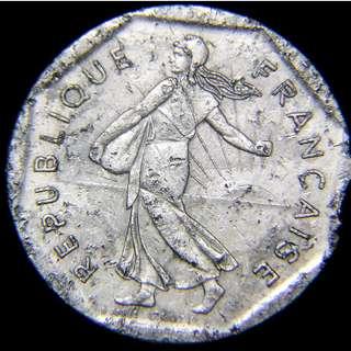 1983年法蘭西共和國(France)旭日下的自由女神瑪莉安娜2法郎(Francs)鎳幣