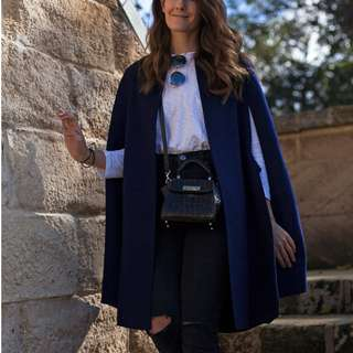Sussan Blue wool cape