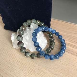 藍水晶+綠幽靈+白水晶晶簇組合