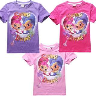 Little Shimmer n Shine Kid Tee - HGC541  Size: 100cm, 110cm, 120cm, 130cm  Color: pink, hot pink, purple