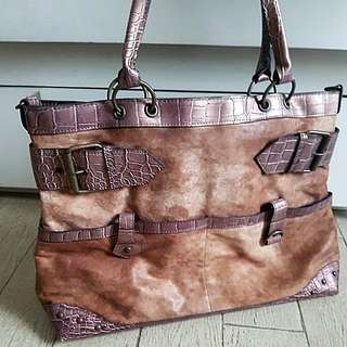 bag rust color with crocodile contrast