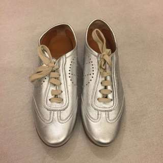 Hermes Metallic Leather Sneakers 35.5