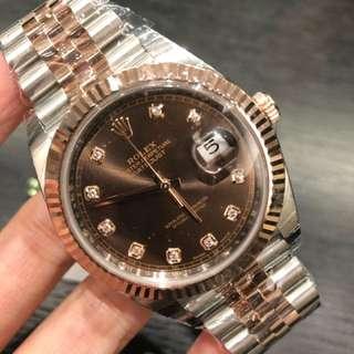 Rolex 126331G 玫瑰金帶鑽 啡面 DataJust