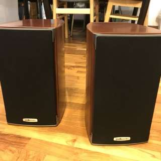 Unused Polk bookshelf speakers, pair cherry wood