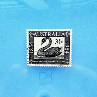Stamp Australia: 1954 centenary of first Western Australian Swan stamp
