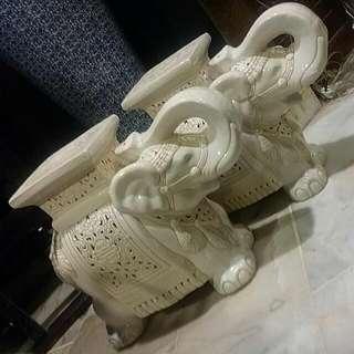 Vintage White Elephant Ceramic Stool .. Trunk Upwards.. A Pair